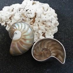 Boucles d oreilles nacre nautile beige naturel