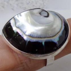Bague nacre nautile noire