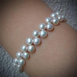 Bracelet perle blanche 2 rangs
