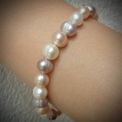 Bracelet perle ronde blanche rose saumon