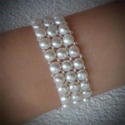 Bracelet perle ronde blanche 3 rangs