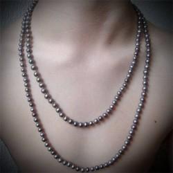 Sautoir perles noires rondes lac Biwa 2 rangs