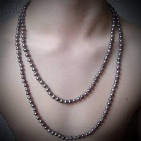 Sautoir perles noires rondes lac Biwa 1 rang