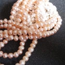 Sautoir perles crème saumon rondes lac Biwa 2 rangs