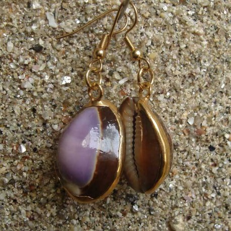 Boucles d oreilles coquillage Cyprae mauritiana violet