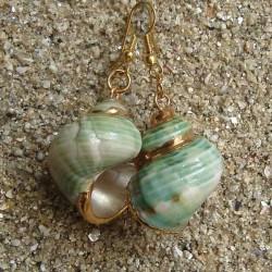 Boucles d oreilles coquillage burgo vert nacre blanche