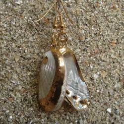 Boucles d oreilles coquillage ormeau blanc nacré
