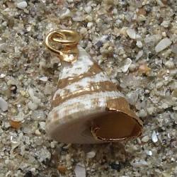 Pendentif coquillage cone gris blanc | collier plaqué or