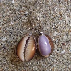 Boucles d oreilles coquillage Cyprae violet