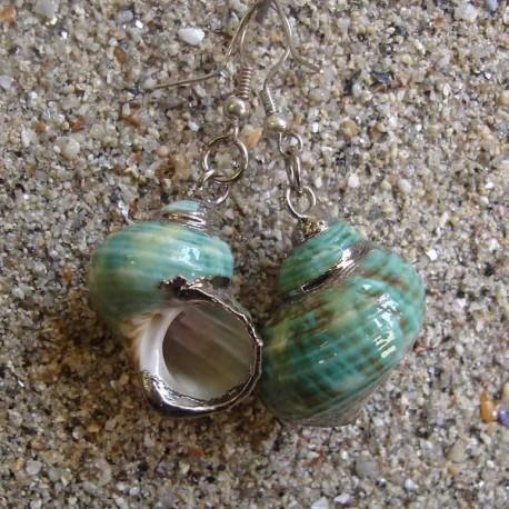 Boucles d oreilles coquillage burgo vert nacre blanche argent