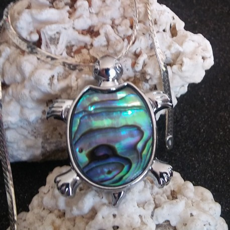 Pendentif tortue nacre abalone paua shell XL