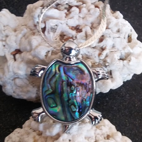 Pendentif tortue nacre abalone XL reflets roses