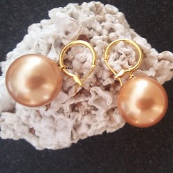 Boucles d'oreilles perles akoya 20 mm champagne