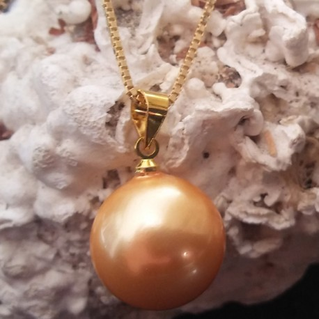 Pendentif perle akoya 16 mm champagne, perle eau douce