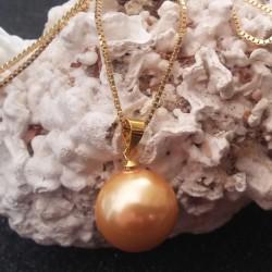 Pendentif perle akoya 16 mm champagne