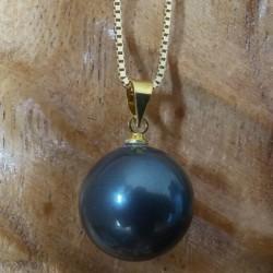 Pendentif perle noire akoya 14 mm naturelle gris
