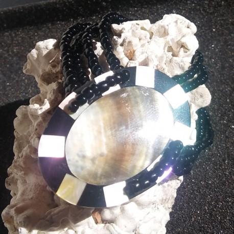 Bracelet nacre noire et damier de nacre, tahiti