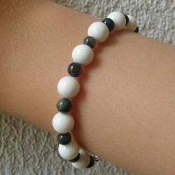Bracelet perles en nacre noire