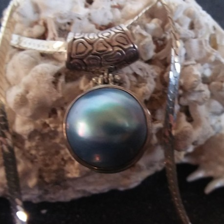 Pendentif nacre mabé bleu 2 cm, perle mabé tahiti