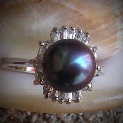Bague perle noire Tahiti , diamant Cz