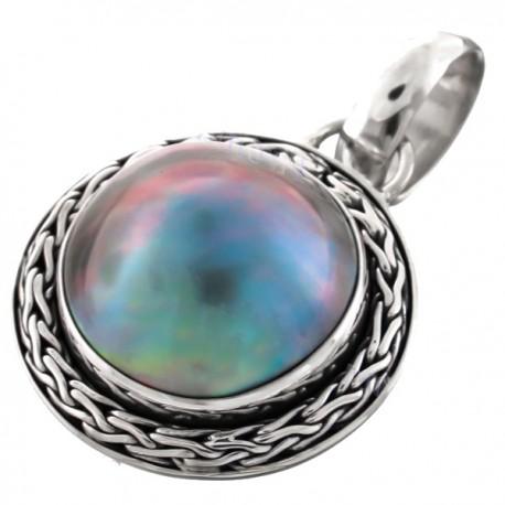 Pendentif nacre mabé bleu reflets irisés 2.3 cm   sertissage sterling silver