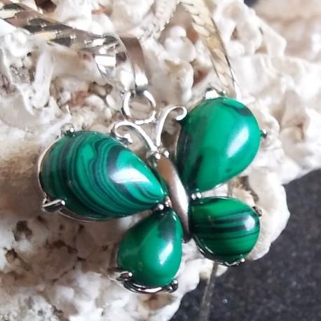 Pendentif pierre vert malachite, pierre des îles