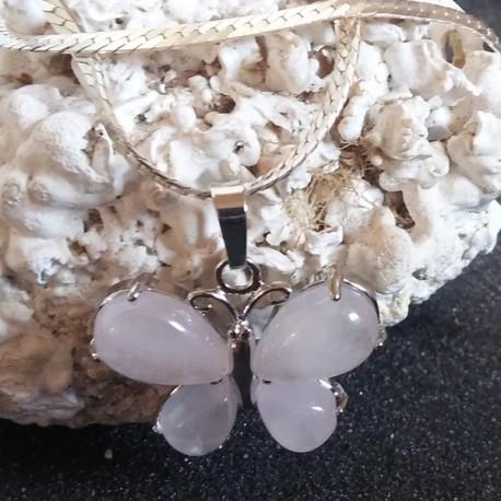 Pendentif pierre quartz rose, amour universel