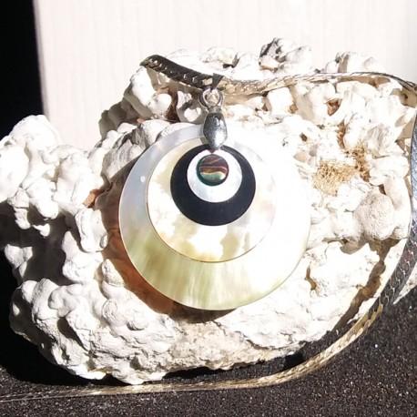 Collier pendentif disque de nacre miel et nacre abalone, tahiti