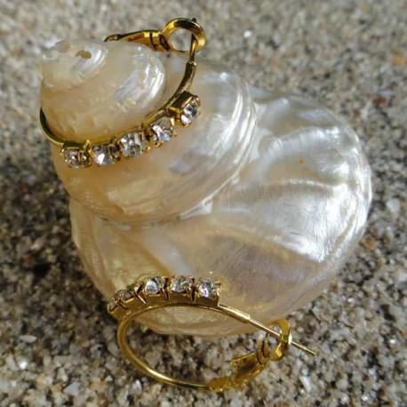 Boucles d'oreilles créoles et strass diamant Cz 2 cm