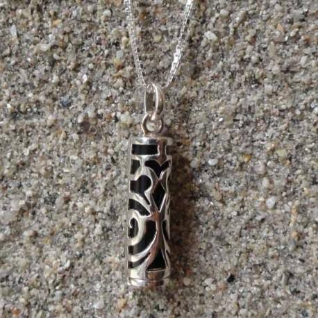 Pendentif Tiki Force argent 925/1000 tahiti, pierre onyx