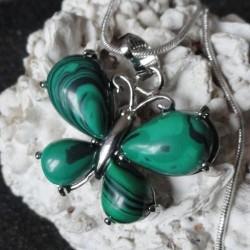 Collier Pendentif Femme Papillon pierre malachite + collier serpent rond argenté