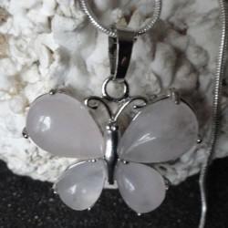 Collier Pendentif Femme Papillon pierre Quartz rose + collier serpent rond argenté