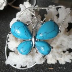 Collier Pendentif Femme Papillon pierre Turquoise + collier serpent rond argenté