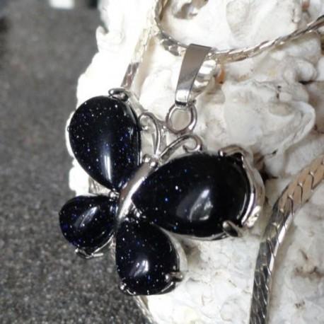 Collier Pendentif Femme Papillon pierre blue sand + collier serpent rond argenté