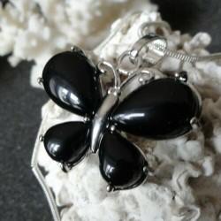 Collier Pendentif Femme Papillon pierre agate noire + collier serpent rond argenté