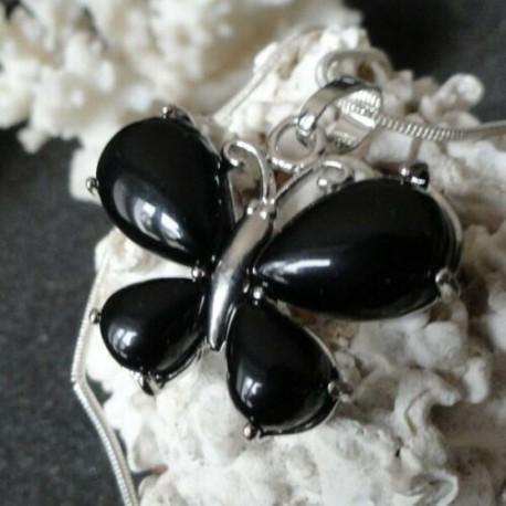 Collier Pendentif Femme Papillon pierre agate noire + collier serpent rond argenté 45 cm