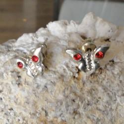 Boucles d'oreilles papillon strass diamant Cz rouge