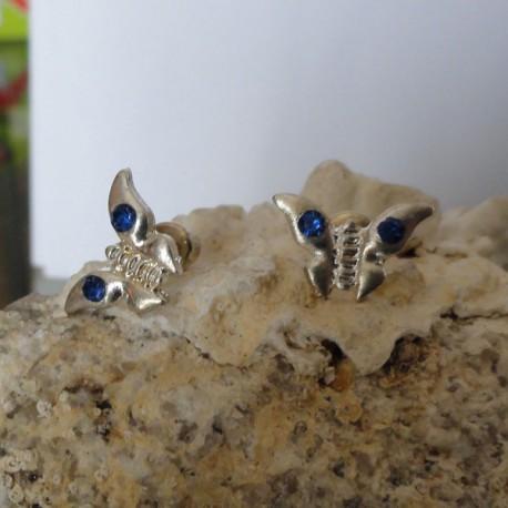 Boucles d'oreilles papillon strass diamant Cz bleu