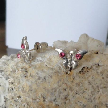 Boucles d'oreilles papillon strass diamant Cz rose foncé