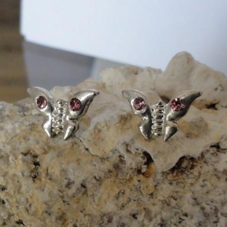 Boucles d'oreilles papillon strass diamant Cz rose pâle