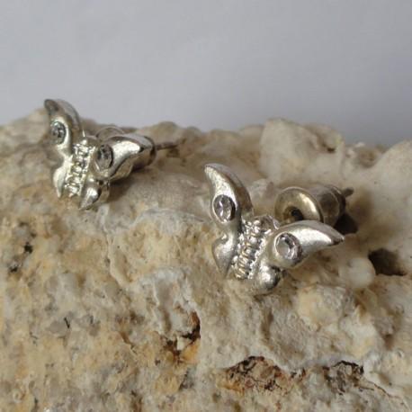 Boucles d'oreilles papillon strass diamant Cz transparent
