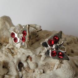 Boucles d'oreilles papillon 4 strass diamant Cz rouge