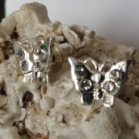 Boucles d'oreilles papillon 4 strass diamant Cz transparent