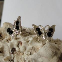 Boucles d'oreilles papillon 4 strass diamant Cz noir