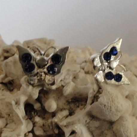 Boucles d'oreilles papillon 4 strass diamant Cz bleu femme