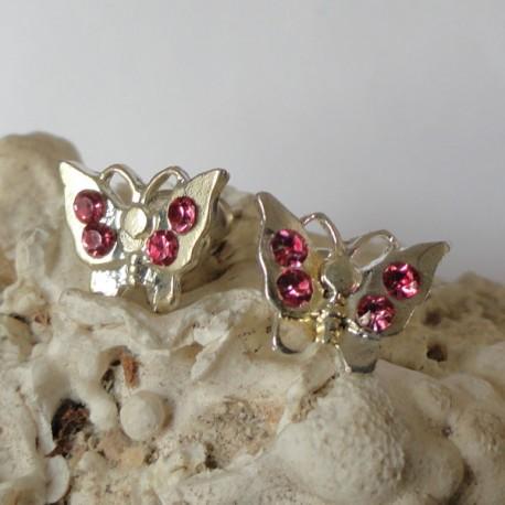 Boucles d'oreilles papillon 4 strass diamant Cz rose foncé