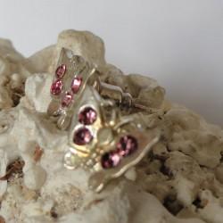 Boucles d'oreilles papillon 4 strass diamant Cz rose clair