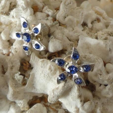 Boucles d'oreilles fleur 6 strass diamant Cz bleus