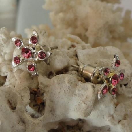 Boucles d'oreilles fleur 6 strass diamant Cz rose foncé