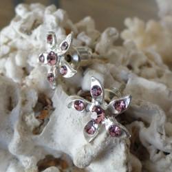 Boucles d'oreilles fleur 6 strass diamant Cz rose clair